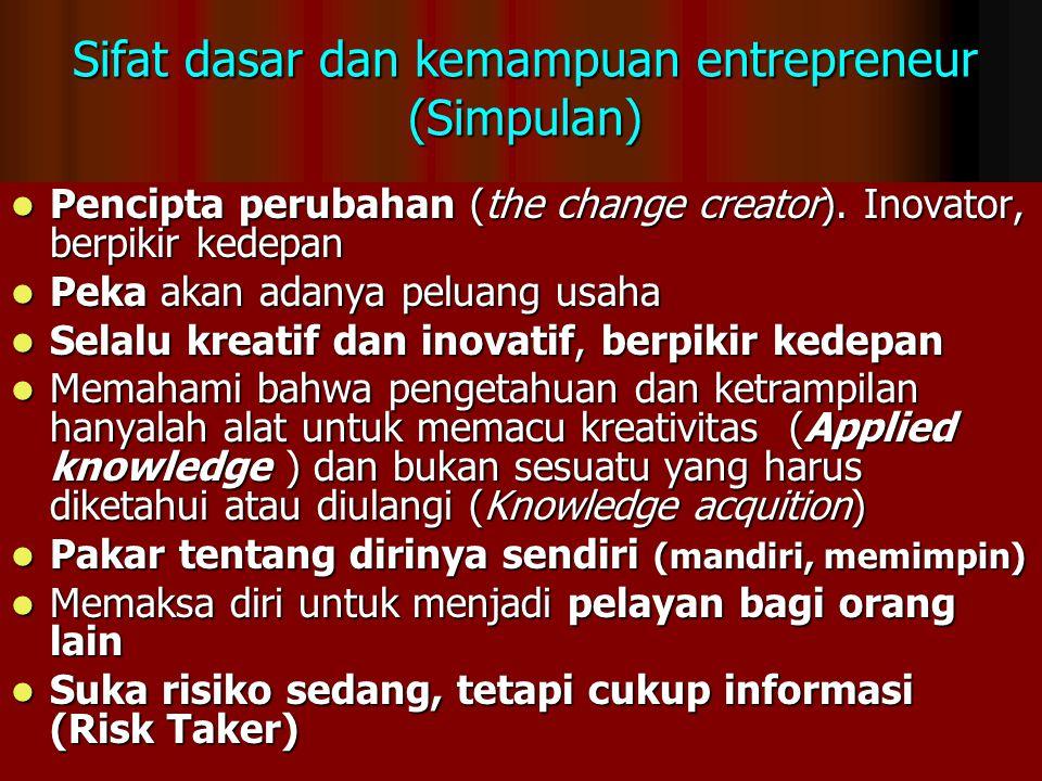 Sifat dasar dan kemampuan entrepreneur (Simpulan)