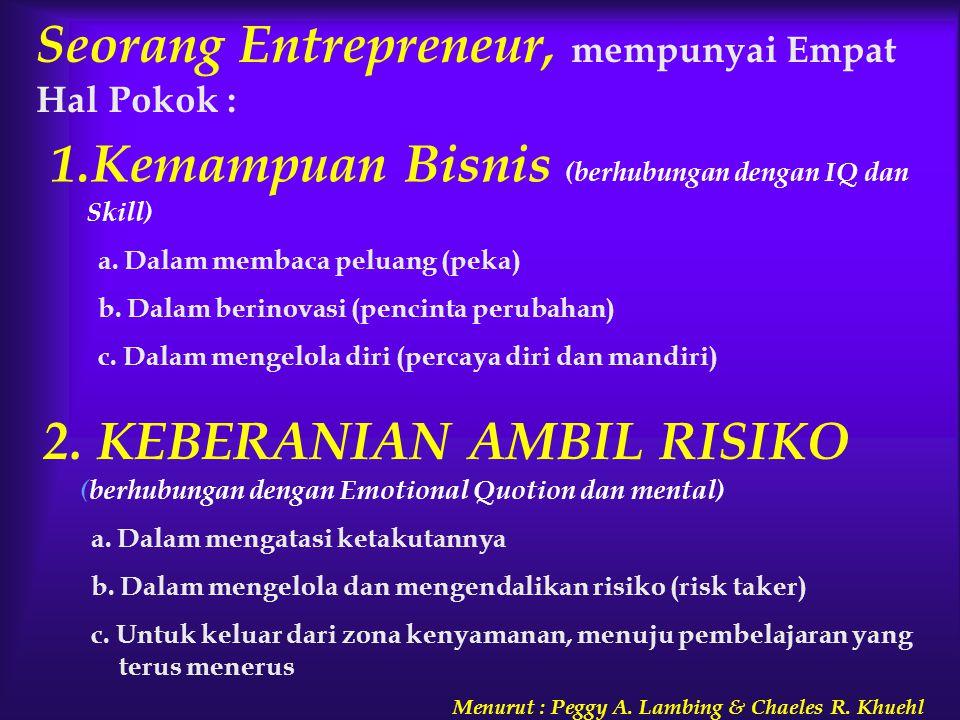 Seorang Entrepreneur, mempunyai Empat Hal Pokok :