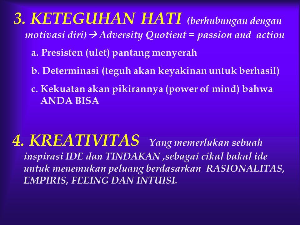 3. KETEGUHAN HATI (berhubungan dengan motivasi diri) Adversity Quotient = passion and action