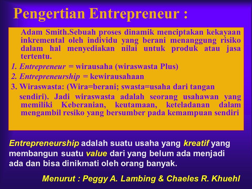 Pengertian Entrepreneur :