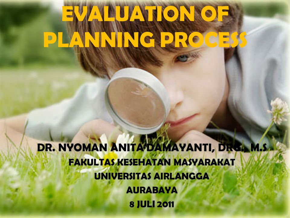 EVALUATION OF PLANNING PROCESS