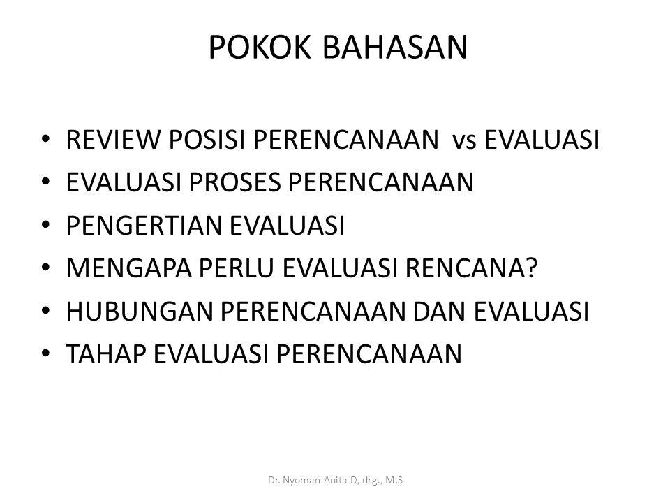 POKOK BAHASAN REVIEW POSISI PERENCANAAN vs EVALUASI