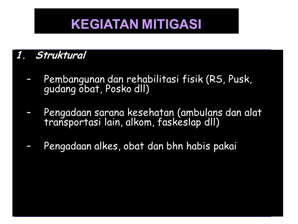 KEGIATAN MITIGASI Struktural