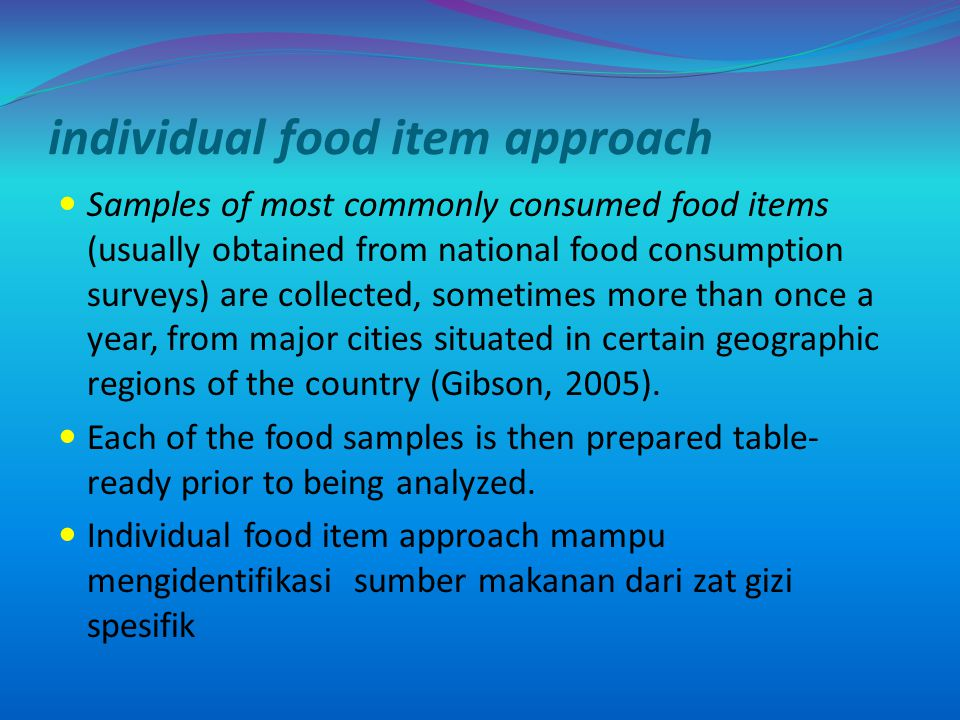 individual food item approach
