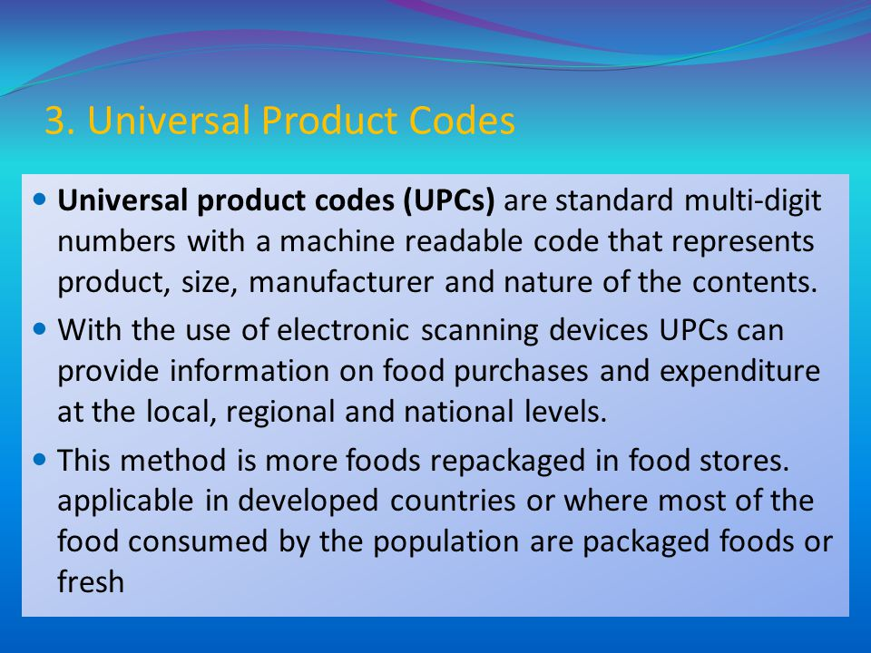 3. Universal Product Codes