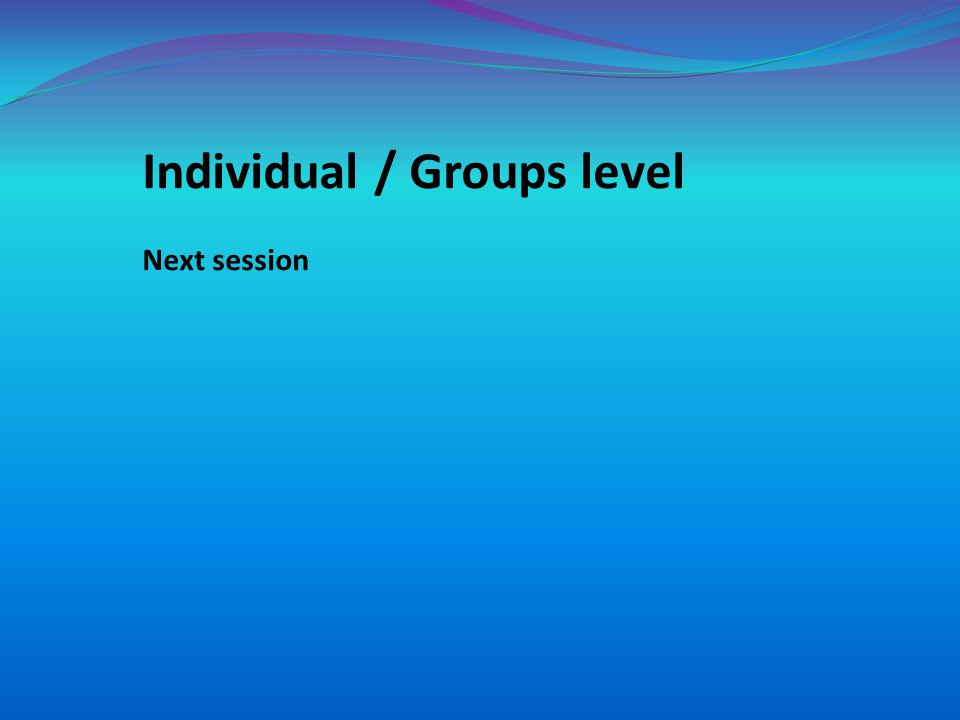 Individual / Groups level