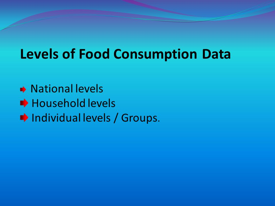 Levels of Food Consumption Data