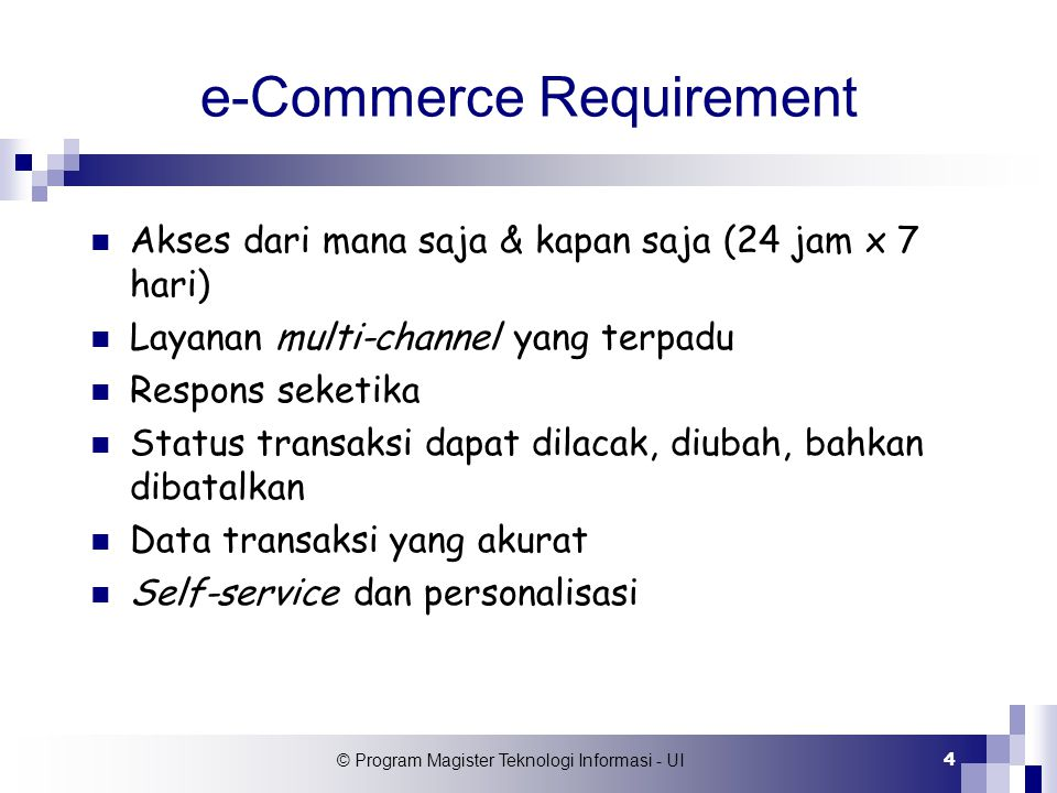 e-Commerce Requirement