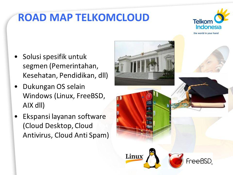 ROAD MAP TELKOMCLOUD Solusi spesifik untuk segmen (Pemerintahan, Kesehatan, Pendidikan, dll) Dukungan OS selain Windows (Linux, FreeBSD, AIX dll)