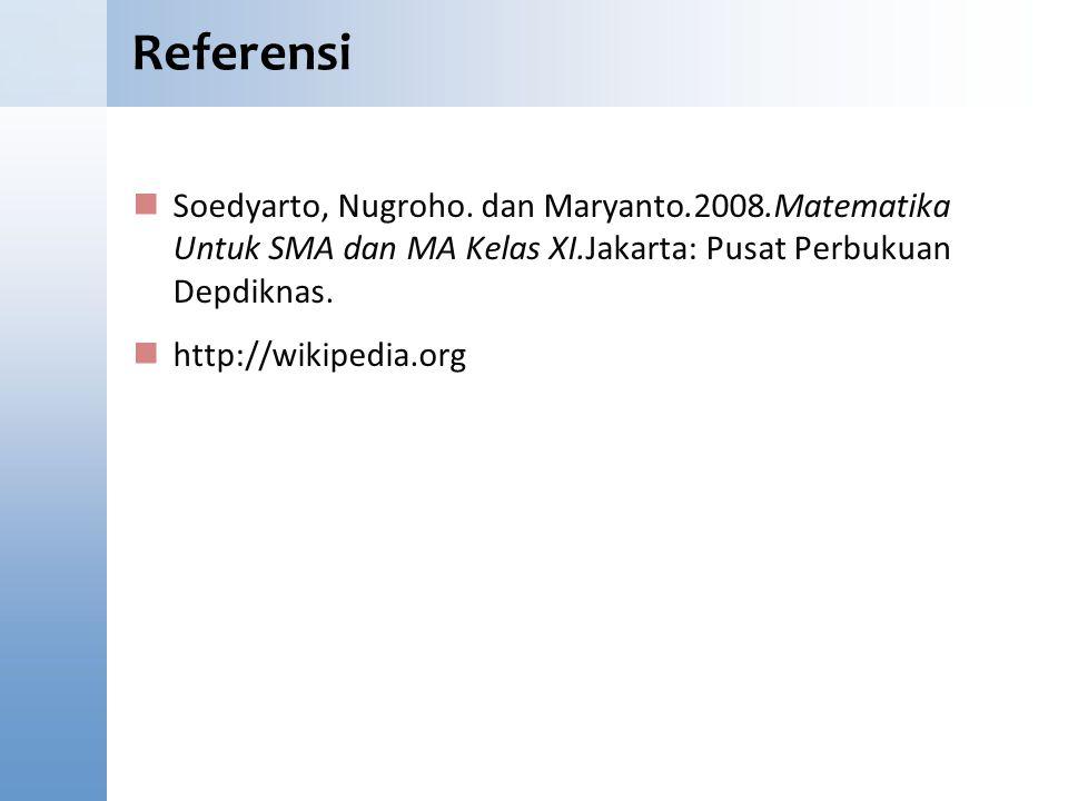 Referensi Content Starter Set. Soedyarto, Nugroho. dan Maryanto.2008.Matematika Untuk SMA dan MA Kelas XI.Jakarta: Pusat Perbukuan Depdiknas.