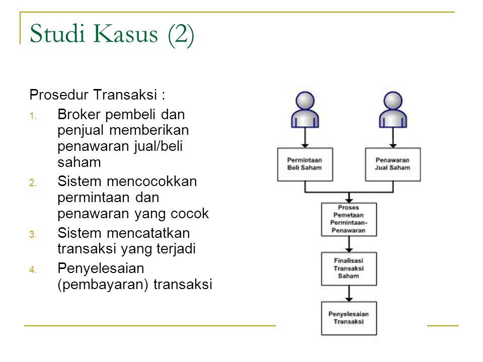 Studi Kasus (2) Prosedur Transaksi :