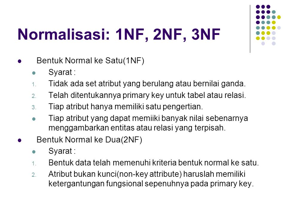 Normalisasi: 1NF, 2NF, 3NF Bentuk Normal ke Satu(1NF)
