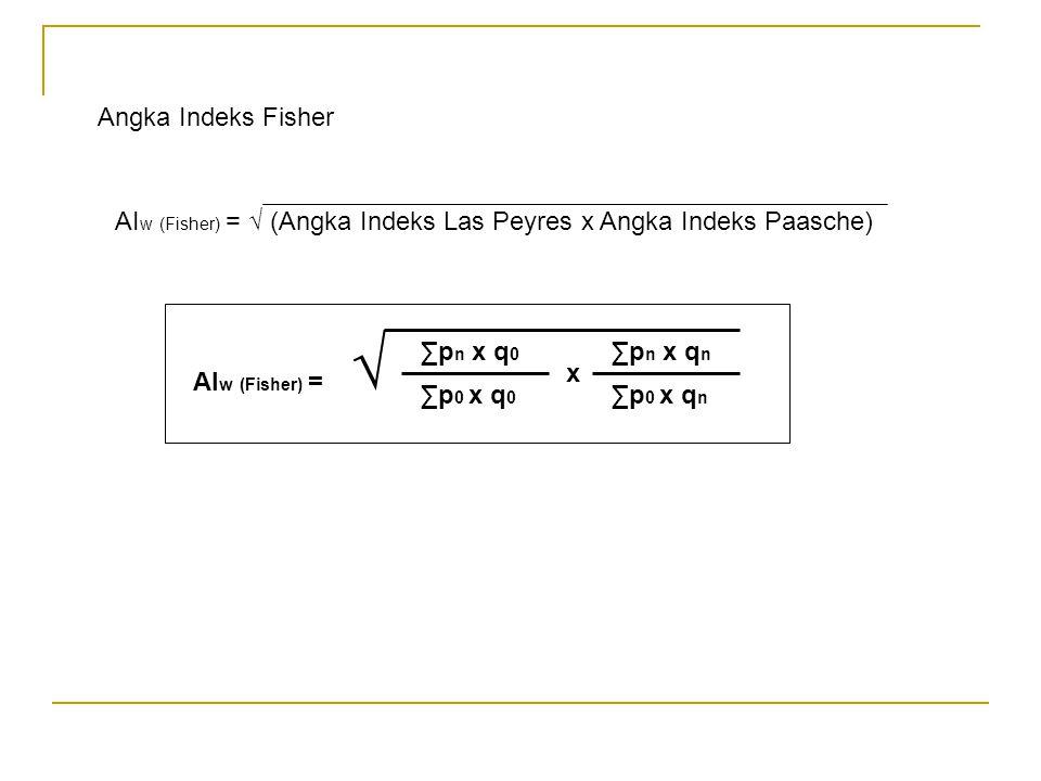 Angka Indeks Fisher AIw (Fisher) = √ (Angka Indeks Las Peyres x Angka Indeks Paasche) ∑pn x q0. ∑p0 x q0.