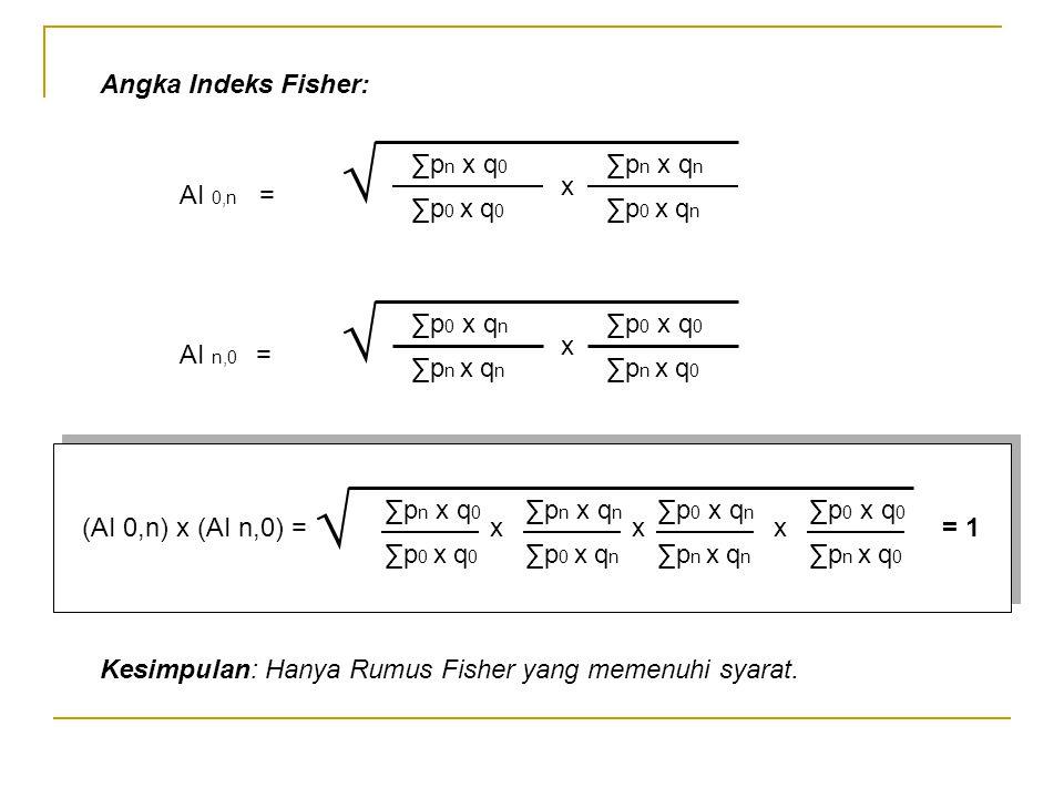 √ √ √ Angka Indeks Fisher: ∑pn x q0 ∑p0 x q0 ∑pn x qn ∑p0 x qn x