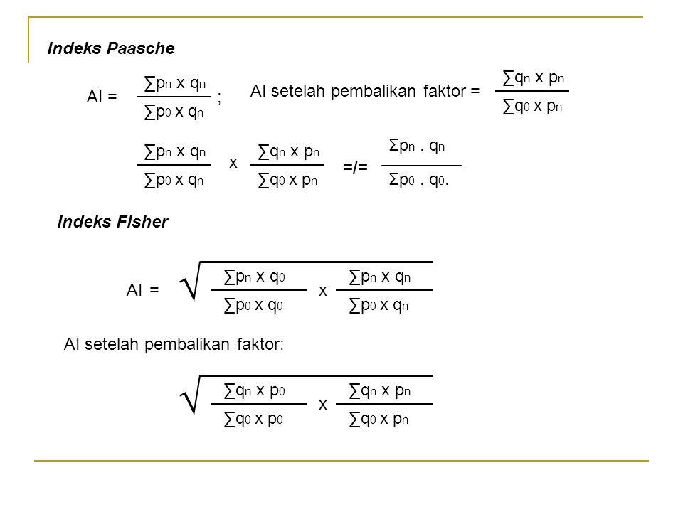 √ √ Indeks Paasche ∑qn x pn ∑pn x qn AI setelah pembalikan faktor =