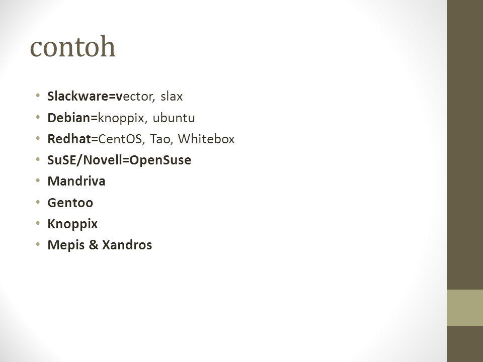 contoh Slackware=vector, slax Debian=knoppix, ubuntu