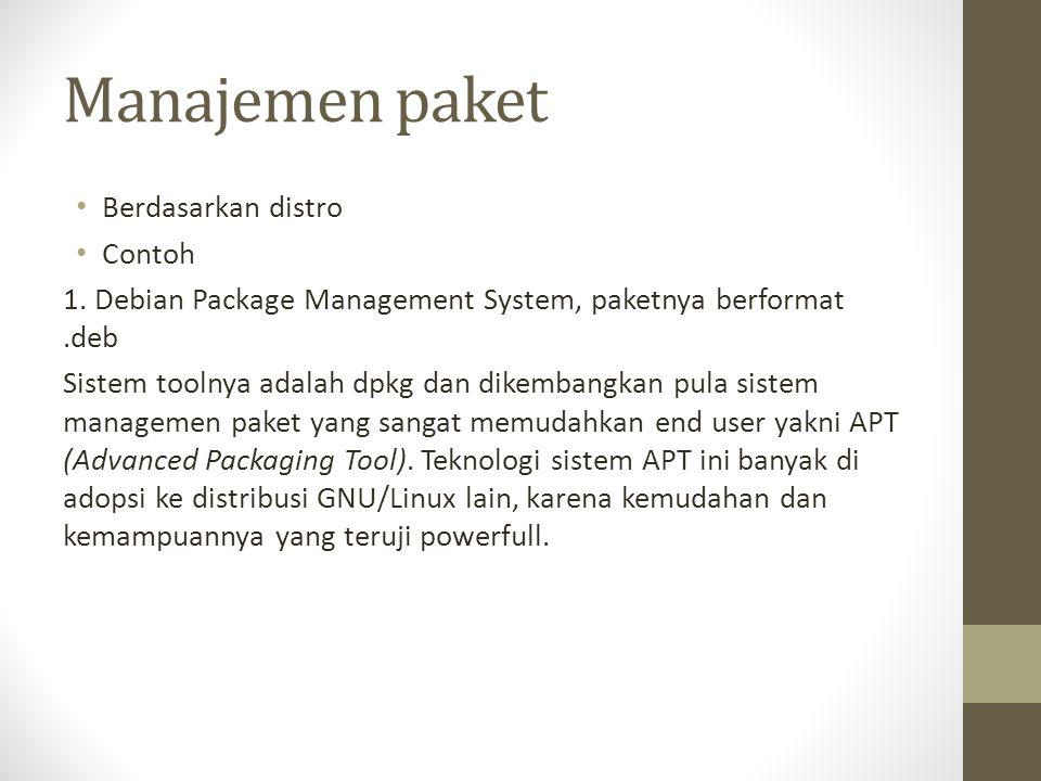Manajemen paket Berdasarkan distro Contoh