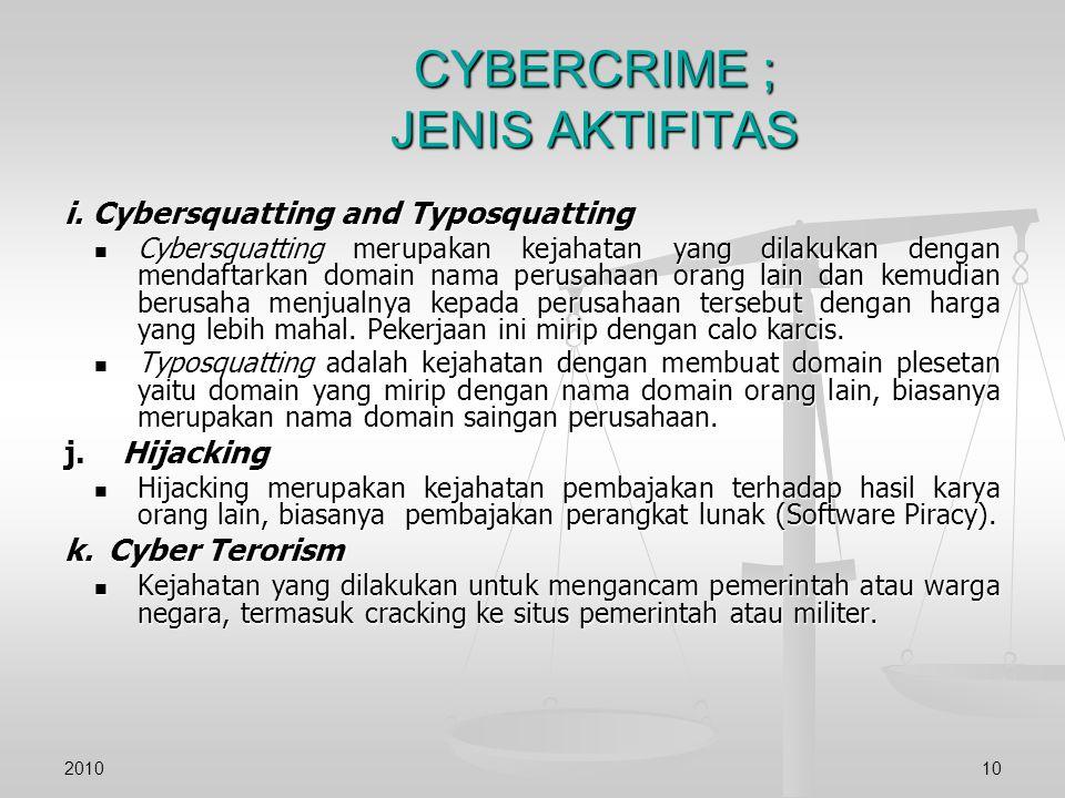 CYBERCRIME ; JENIS AKTIFITAS