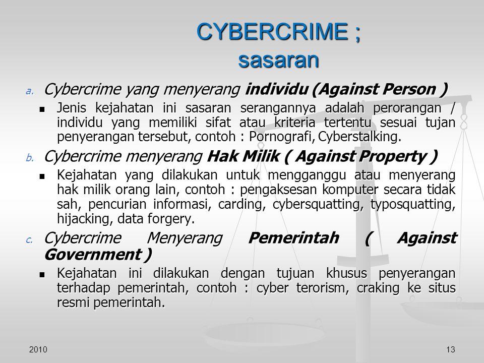 CYBERCRIME ; sasaran Cybercrime yang menyerang individu (Against Person )