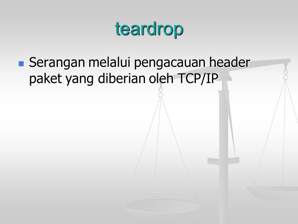 teardrop Serangan melalui pengacauan header paket yang diberian oleh TCP/IP