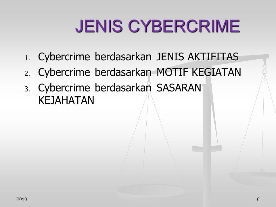 JENIS CYBERCRIME Cybercrime berdasarkan JENIS AKTIFITAS