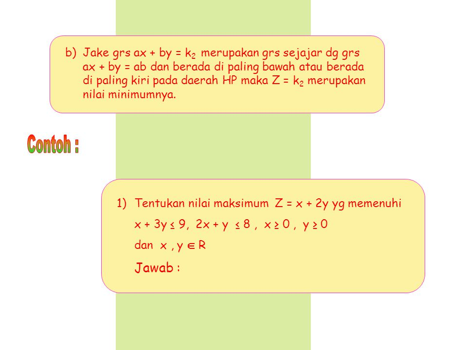 Jake grs ax + by = k2 merupakan grs sejajar dg grs ax + by = ab dan berada di paling bawah atau berada di paling kiri pada daerah HP maka Z = k2 merupakan nilai minimumnya.