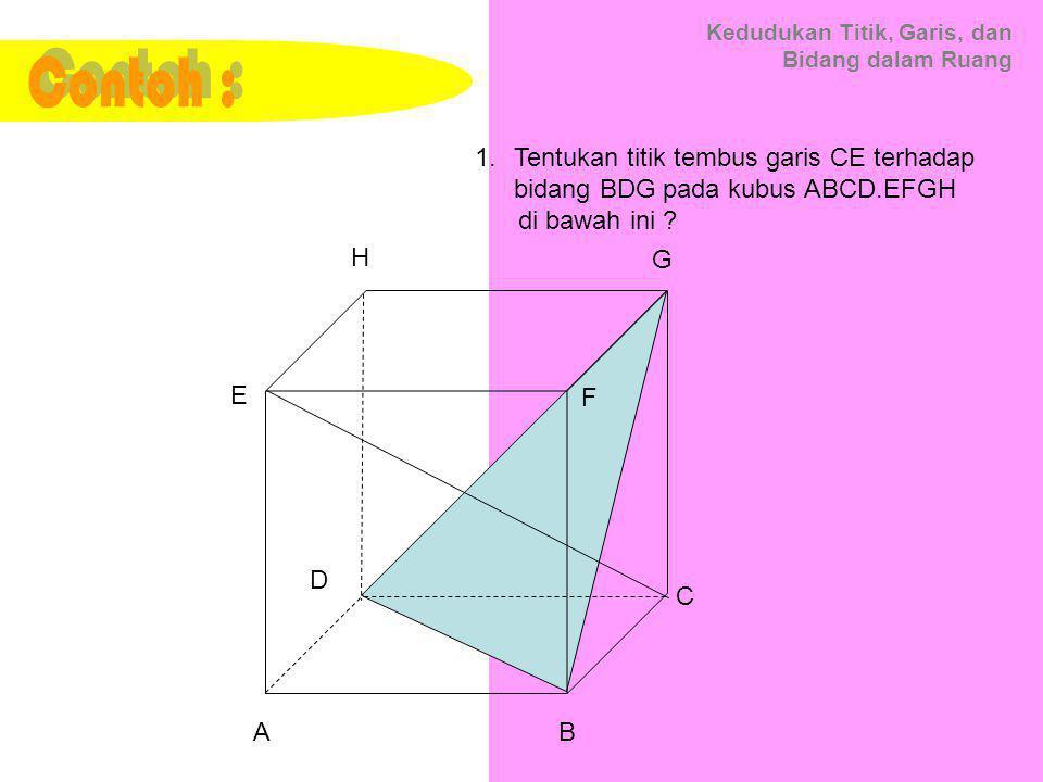Contoh : Tentukan titik tembus garis CE terhadap