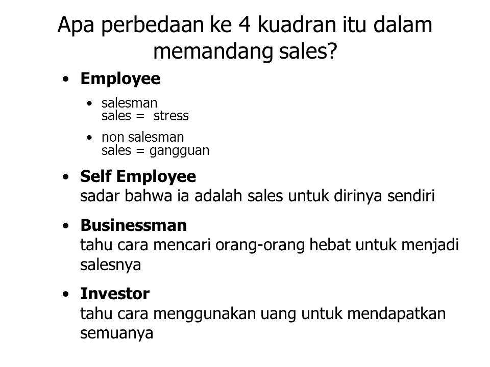 Apa perbedaan ke 4 kuadran itu dalam memandang sales