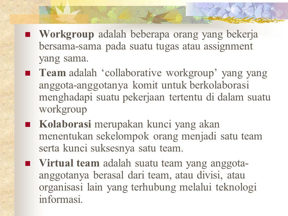 Workgroup adalah beberapa orang yang bekerja bersama-sama pada suatu tugas atau assignment yang sama.