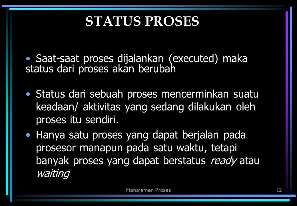 STATUS PROSES Saat-saat proses dijalankan (executed) maka