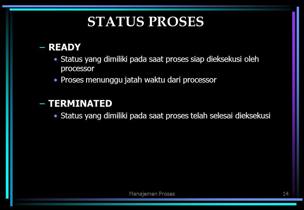 STATUS PROSES READY TERMINATED
