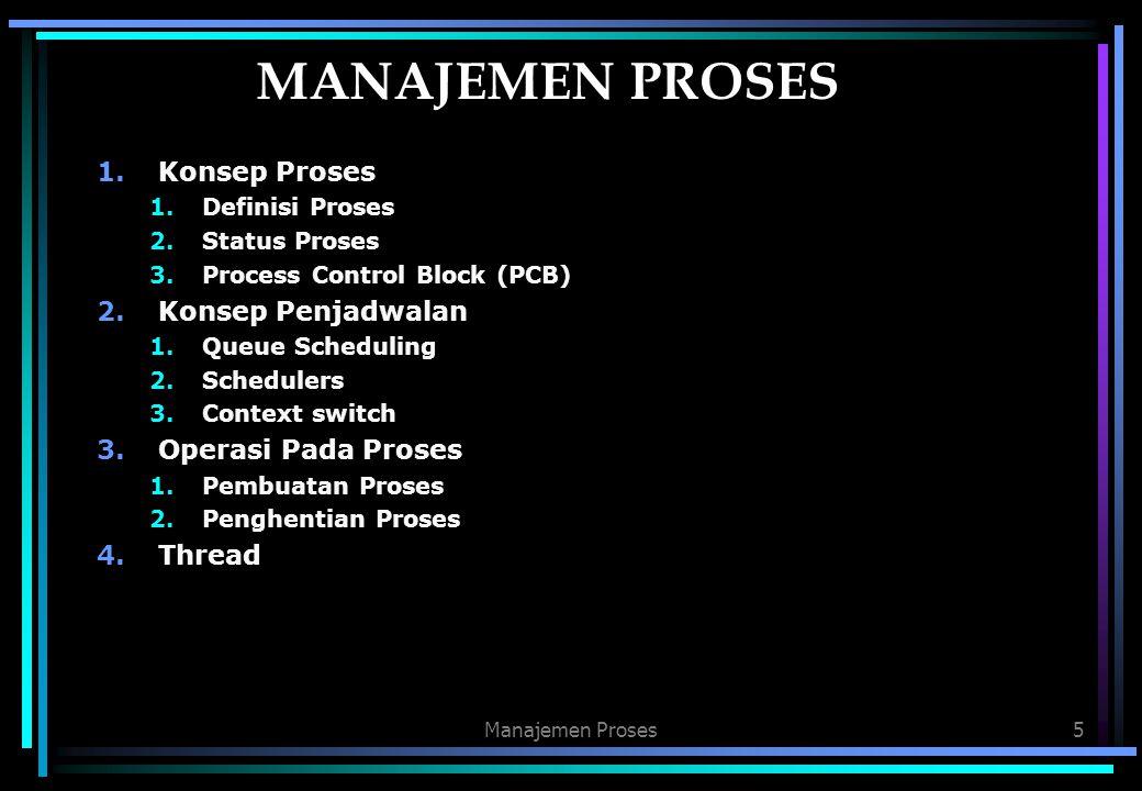 MANAJEMEN PROSES Konsep Proses Konsep Penjadwalan Operasi Pada Proses