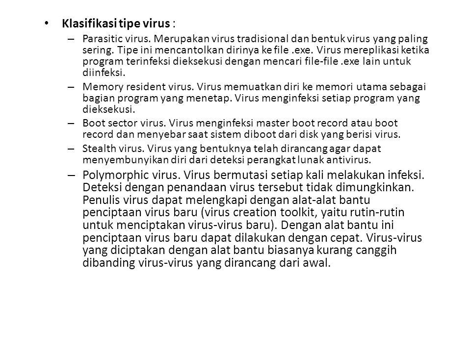 Klasifikasi tipe virus :