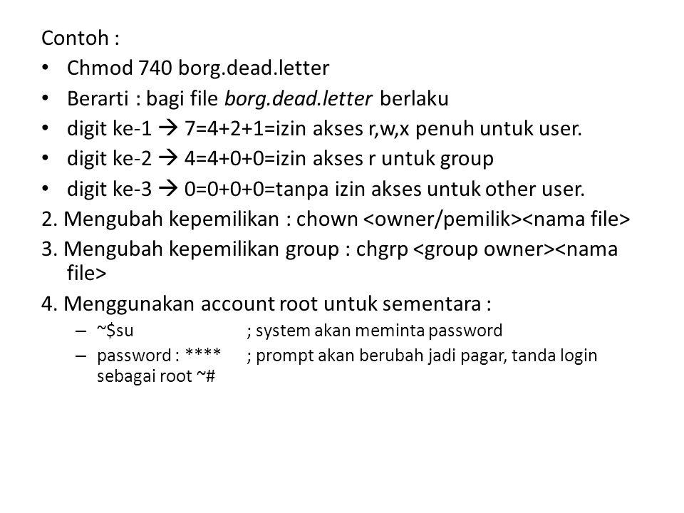 Berarti : bagi file borg.dead.letter berlaku