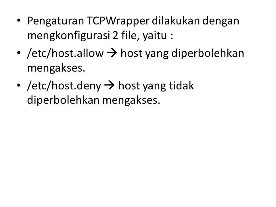 Pengaturan TCPWrapper dilakukan dengan mengkonfigurasi 2 file, yaitu :