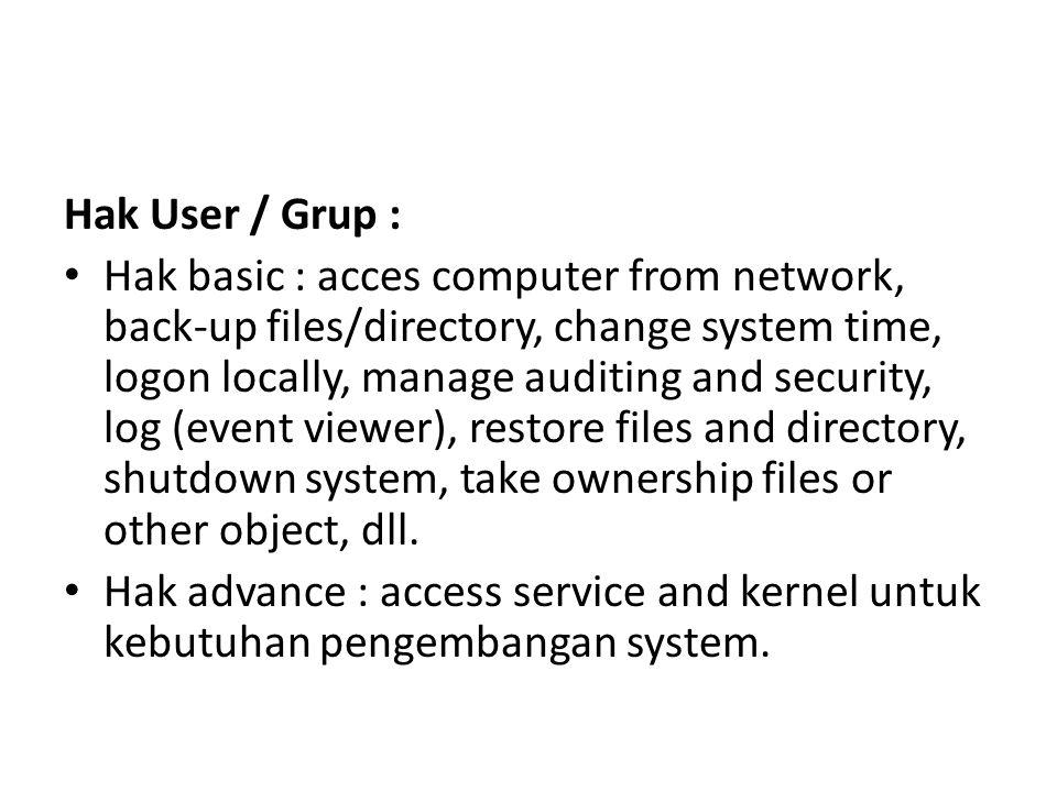 Hak User / Grup :
