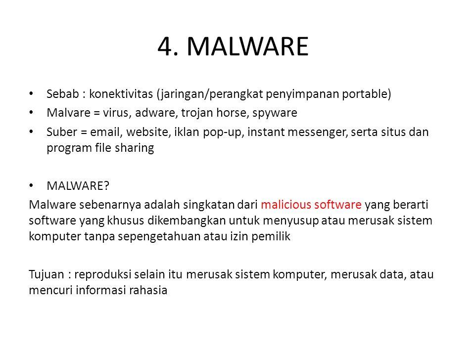4. MALWARE Sebab : konektivitas (jaringan/perangkat penyimpanan portable) Malvare = virus, adware, trojan horse, spyware.