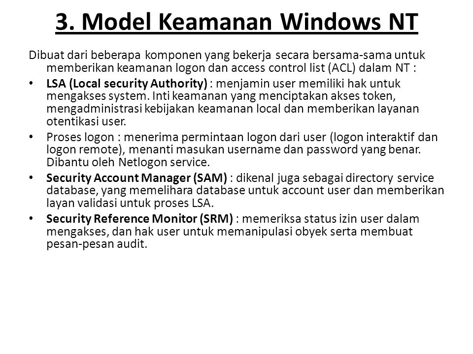 3. Model Keamanan Windows NT