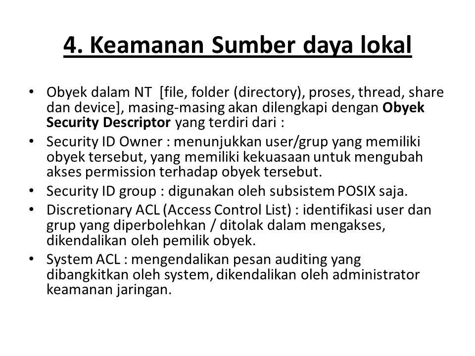4. Keamanan Sumber daya lokal