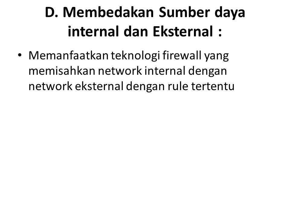 D. Membedakan Sumber daya internal dan Eksternal :