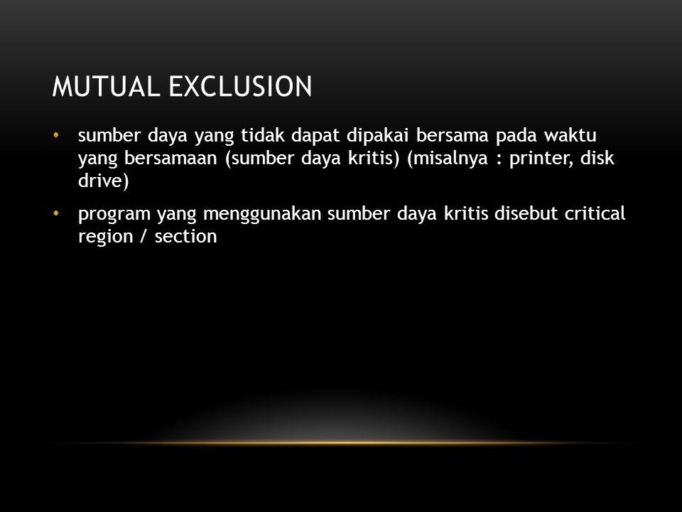 Mutual exclusion sumber daya yang tidak dapat dipakai bersama pada waktu yang bersamaan (sumber daya kritis) (misalnya : printer, disk drive)
