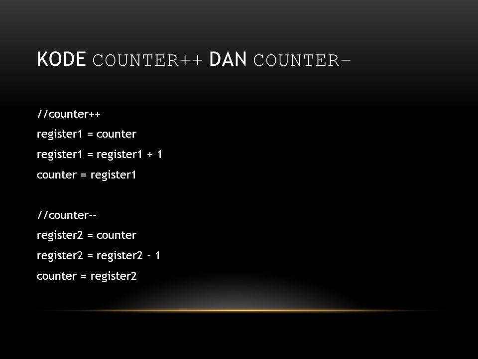 kode counter++ dan counter–