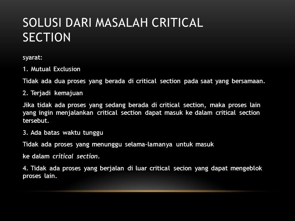 Solusi dari Masalah Critical Section