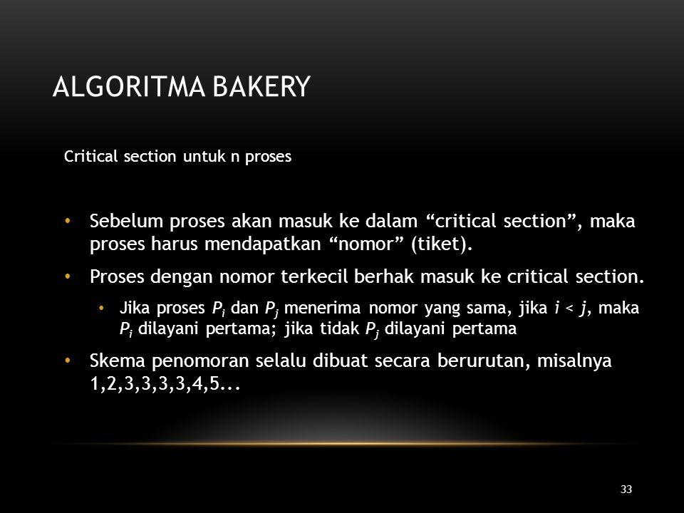 Algoritma Bakery Critical section untuk n proses.