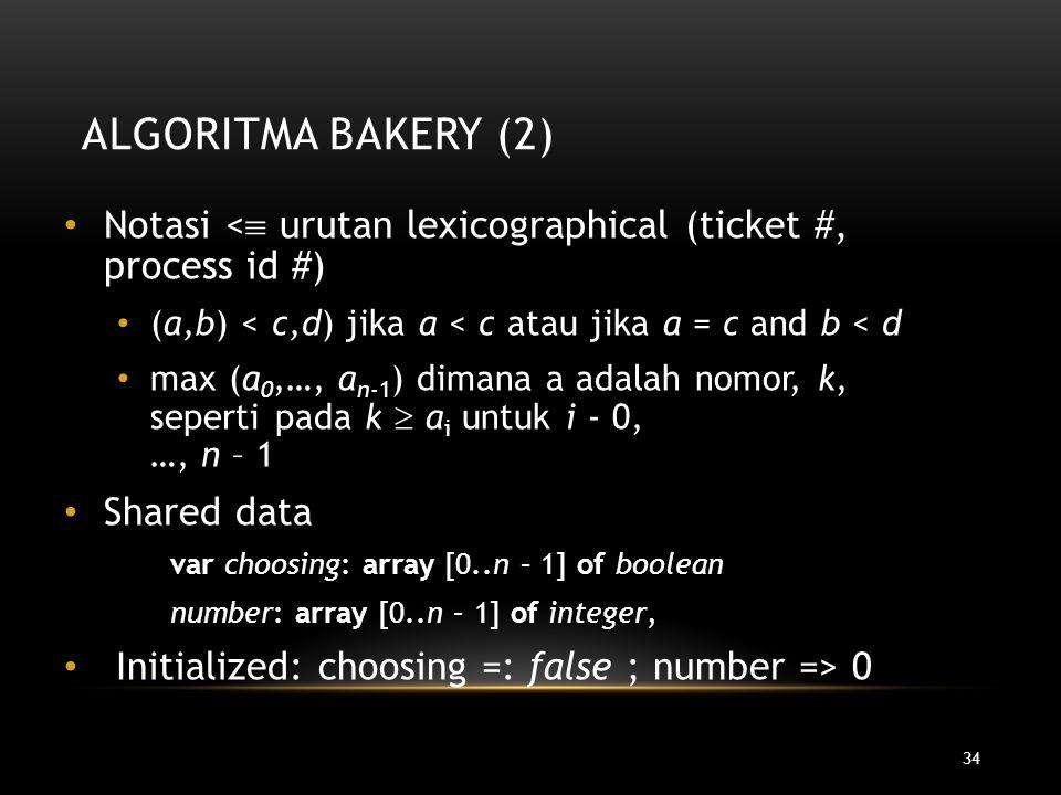 Algoritma Bakery (2) Notasi < urutan lexicographical (ticket #, process id #) (a,b) < c,d) jika a < c atau jika a = c and b < d.