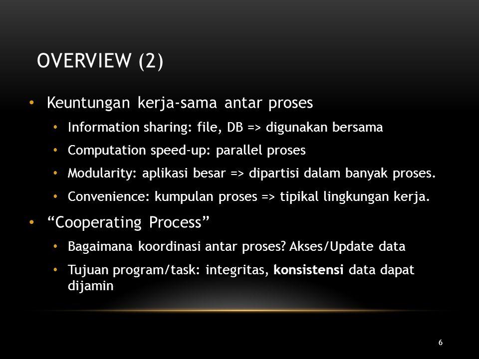 Overview (2) Keuntungan kerja-sama antar proses Cooperating Process
