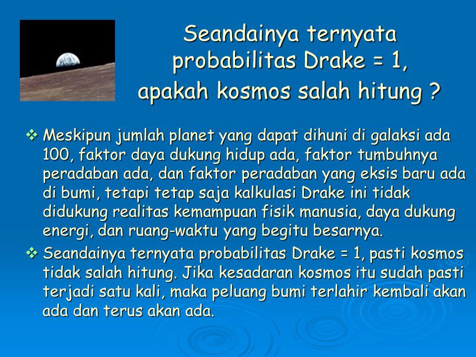 Seandainya ternyata probabilitas Drake = 1, apakah kosmos salah hitung