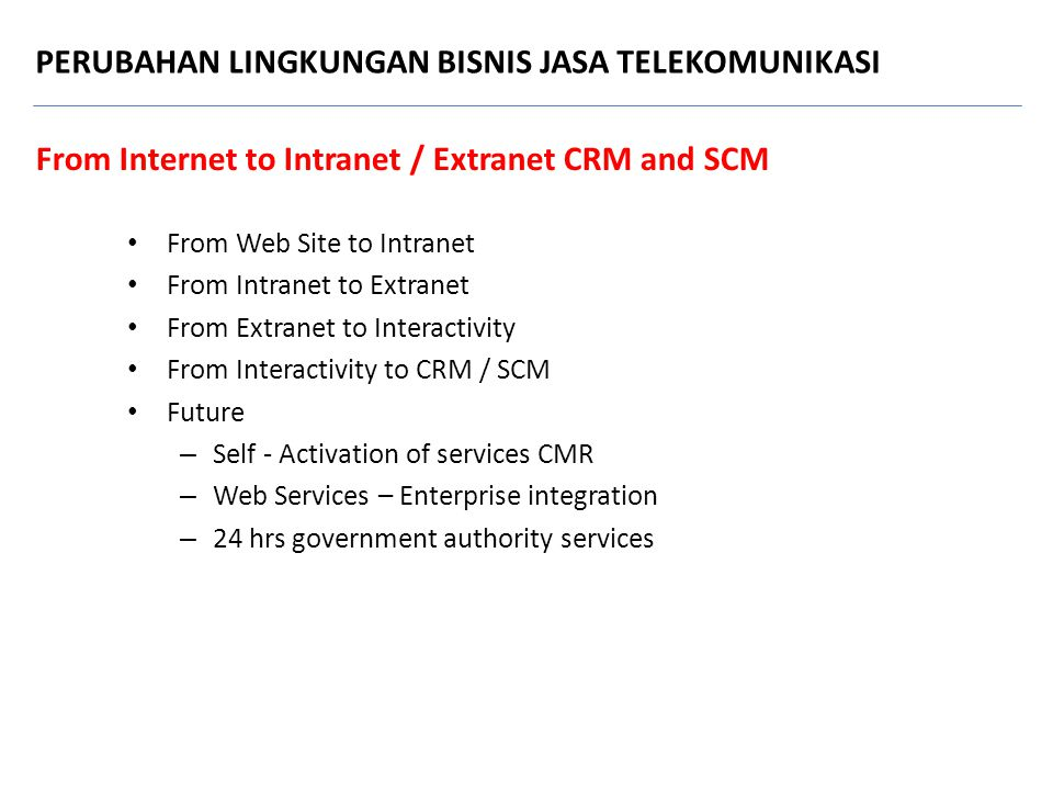 From Internet to Intranet / Extranet CRM and SCM