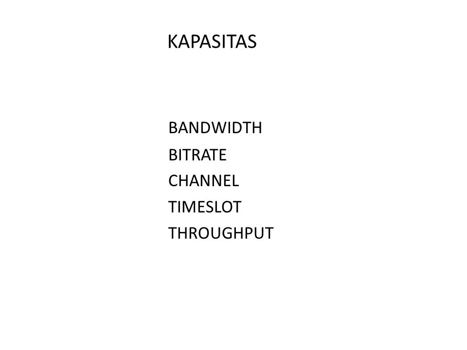 KAPASITAS BANDWIDTH BITRATE CHANNEL TIMESLOT THROUGHPUT
