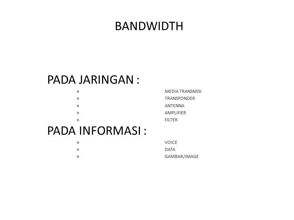 BANDWIDTH PADA JARINGAN : PADA INFORMASI : MEDIA TRANSMISI TRANSPONDER